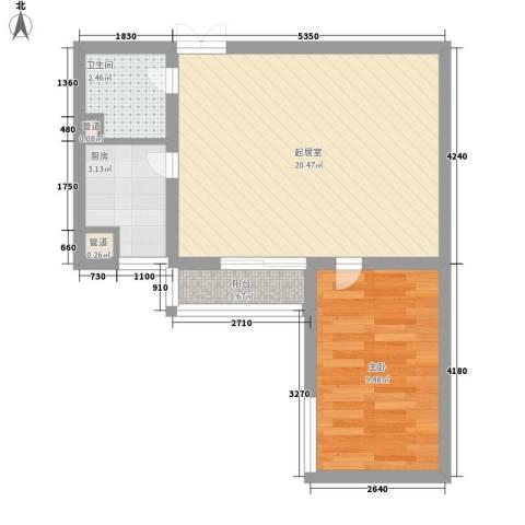 泊乐港湾1室0厅1卫1厨56.00㎡户型图
