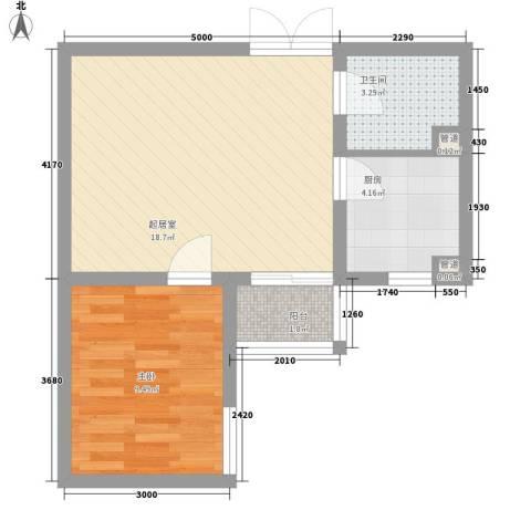 泊乐港湾1室0厅1卫1厨55.00㎡户型图