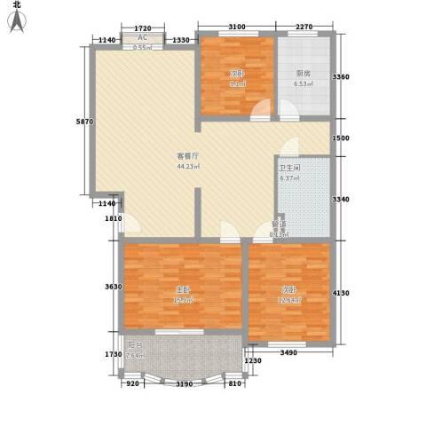 汇隆花园3室1厅1卫1厨146.00㎡户型图