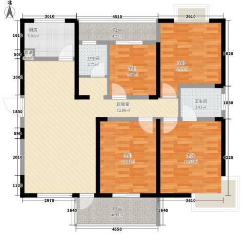 华邦世贸城4室0厅2卫1厨135.00㎡户型图