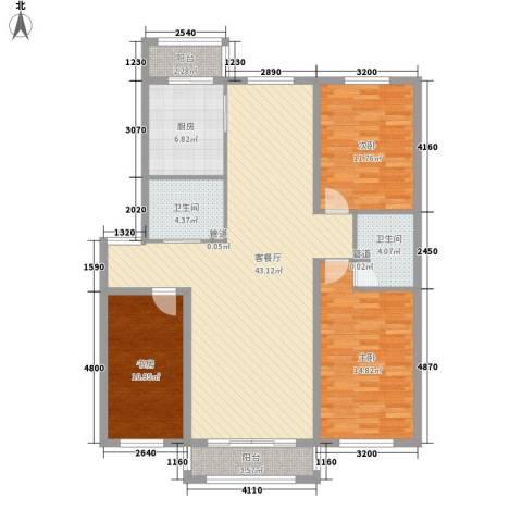 微电子小区3室1厅2卫1厨144.00㎡户型图