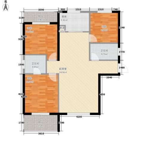 华邦世贸城3室0厅2卫1厨126.00㎡户型图