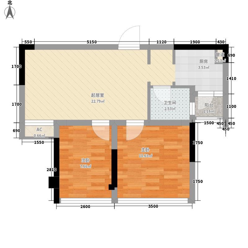 蓝光圣菲悦城62.00㎡1期1批次2-11栋标准层A4户型2室2厅1卫1厨