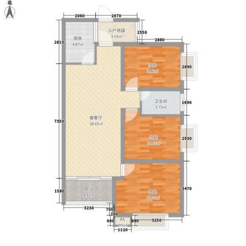 金域蓝郡3室1厅1卫1厨111.00㎡户型图
