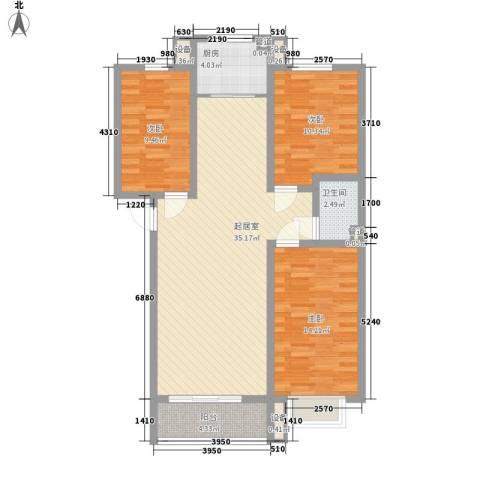 泊乐港湾3室0厅1卫1厨118.00㎡户型图