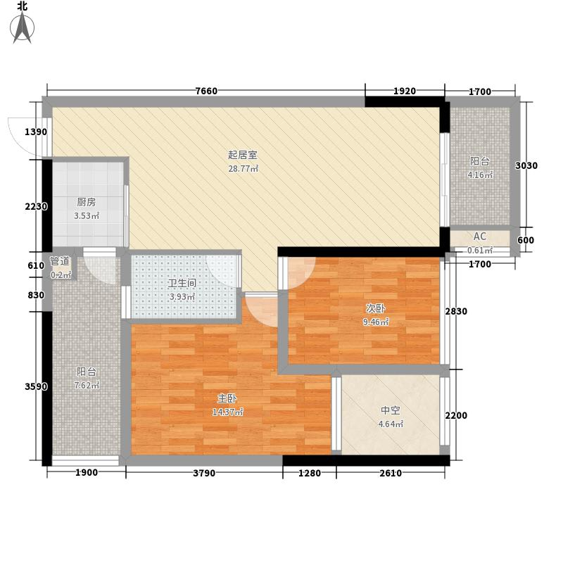 盛天公馆|88街区78.00㎡2#楼02户型2室2厅1卫1厨