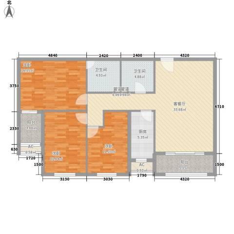新东方国际3室1厅2卫1厨111.87㎡户型图