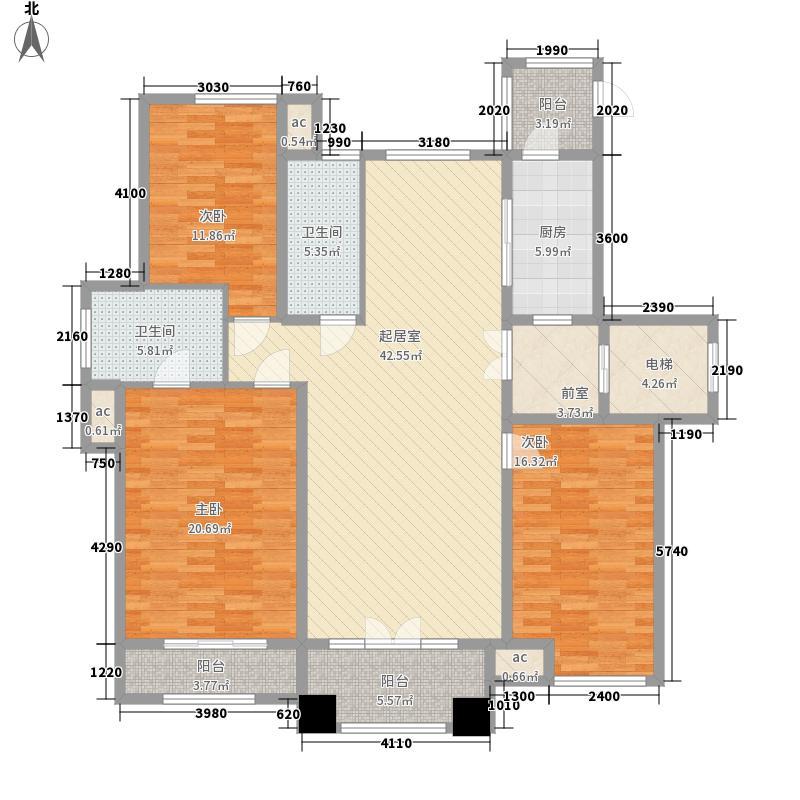 上河城155.00㎡上河城户型图A2户型3室2厅2卫1厨户型3室2厅2卫1厨