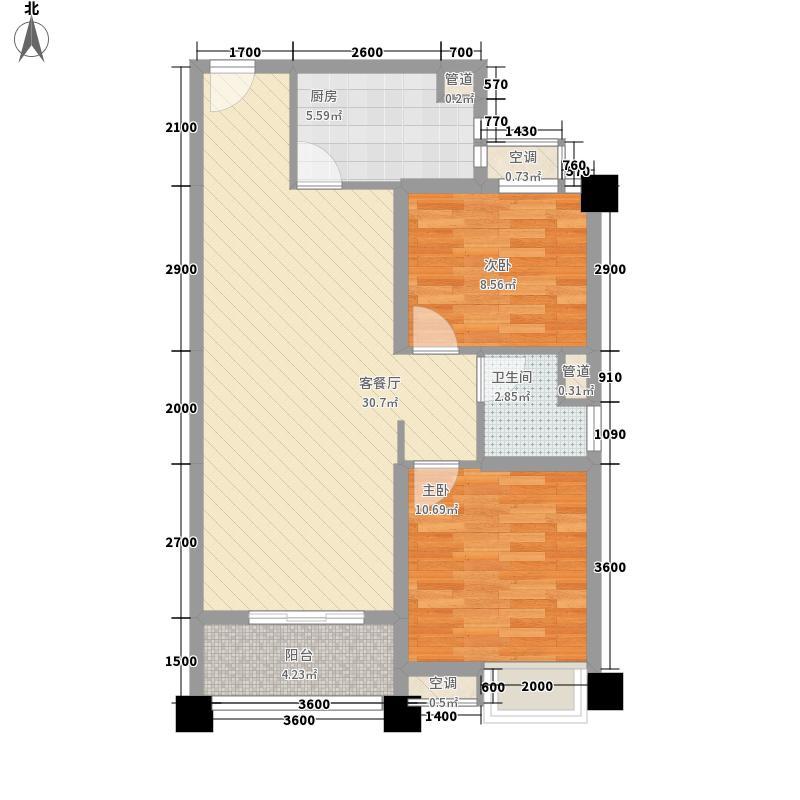 石家庄碧桂园8.00㎡高层YJ80-B户型2室2厅1卫1厨