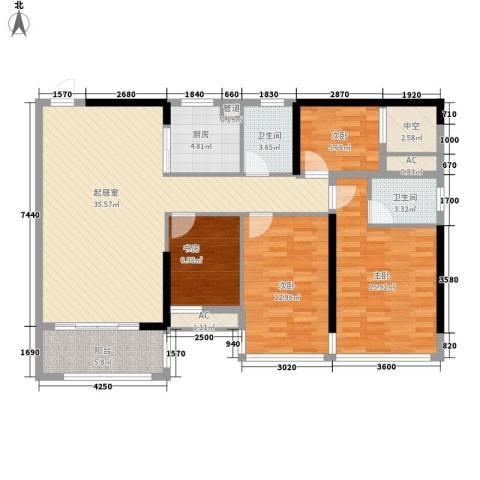 盛天公馆|88街区4室0厅2卫1厨109.00㎡户型图
