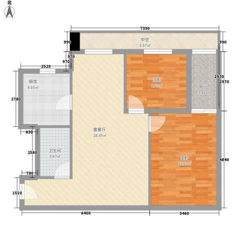 新东方国际2室1厅1卫1厨80.12㎡户型图