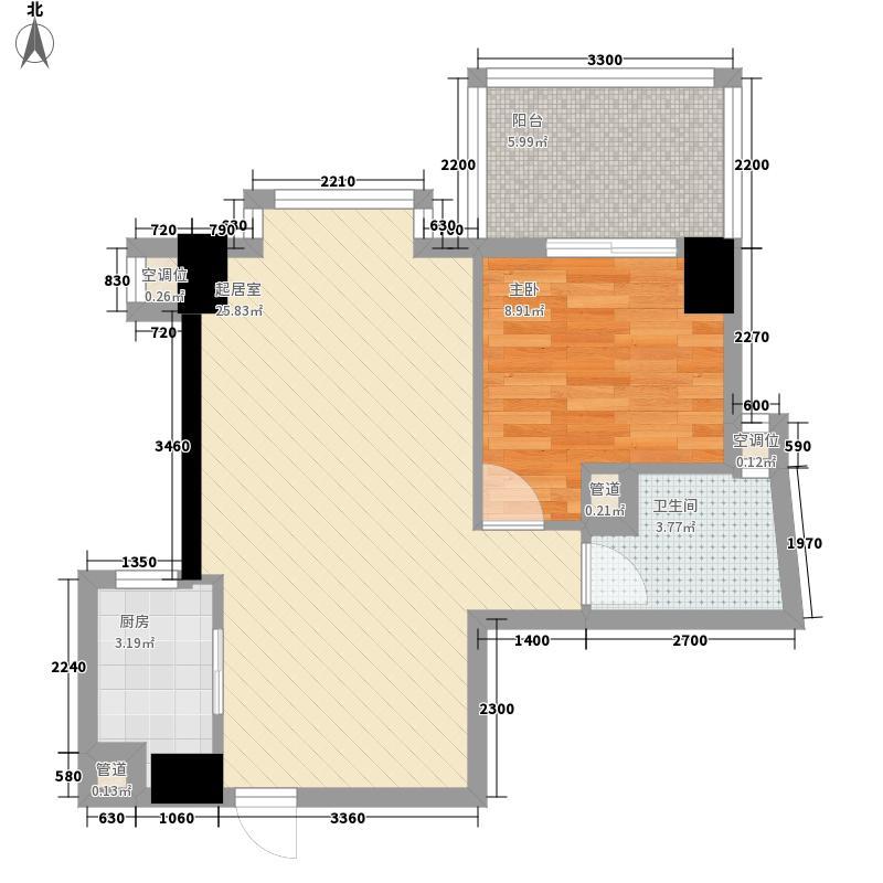 建川黉门公馆61.68㎡J型偶数层户型1室2厅1卫1厨