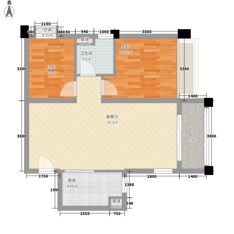 石家庄碧桂园82.00㎡高层YJ80-A户型2室2厅1卫1厨