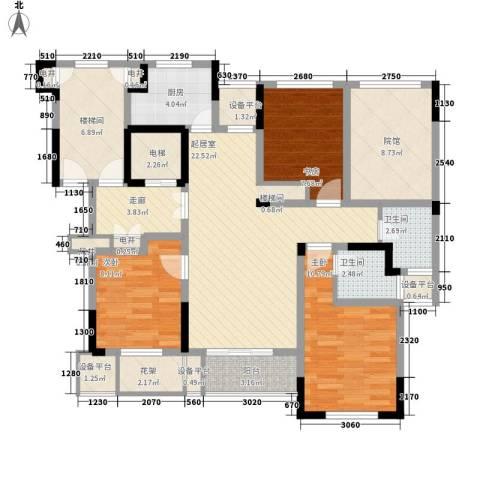 金色城邦3室0厅2卫1厨135.00㎡户型图