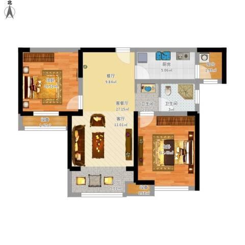 宝龙城2室1厅1卫1厨91.00㎡户型图