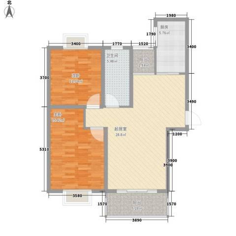 中豪国际星城三期2室0厅1卫1厨73.73㎡户型图