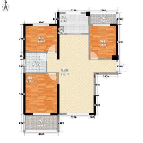 华邦世贸城3室0厅1卫1厨115.00㎡户型图