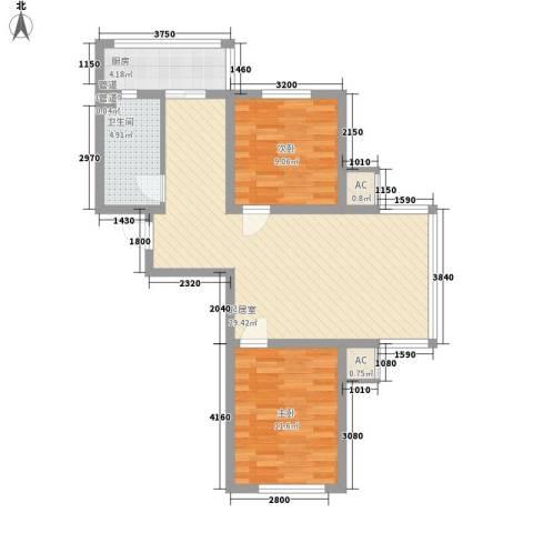 府兴雅园2室0厅1卫1厨73.00㎡户型图