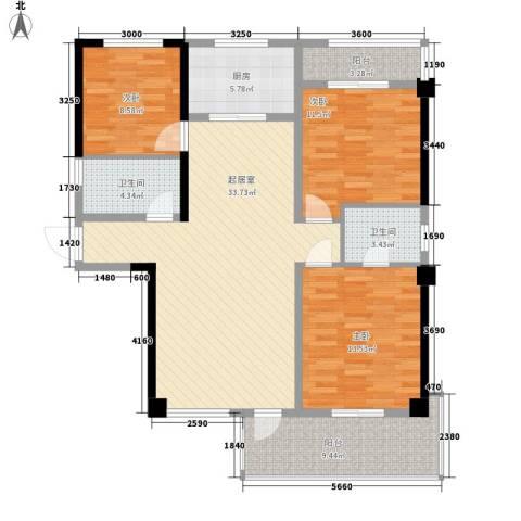 华邦世贸城3室0厅2卫1厨124.00㎡户型图
