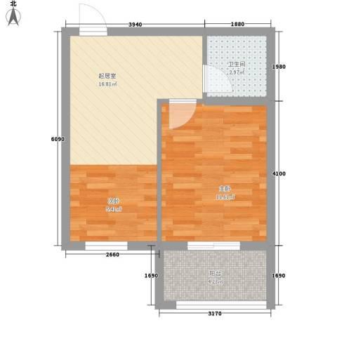 丽景天下1室0厅1卫0厨51.00㎡户型图