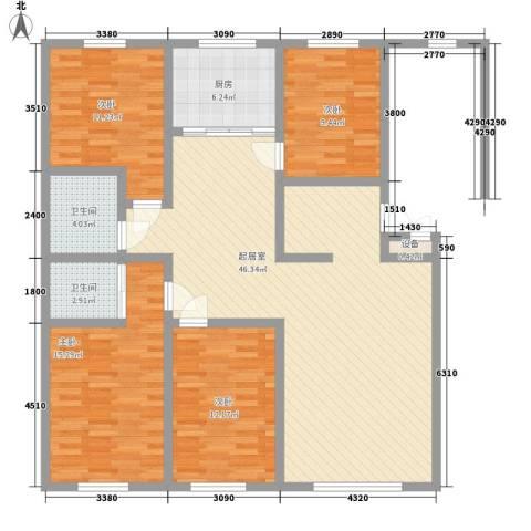 水宜家苑4室0厅2卫1厨147.00㎡户型图