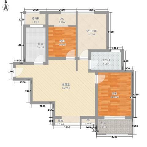 新里魏玛公馆2室0厅1卫1厨86.00㎡户型图
