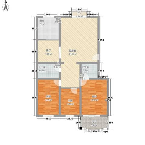 汇隆花园3室1厅2卫1厨125.00㎡户型图