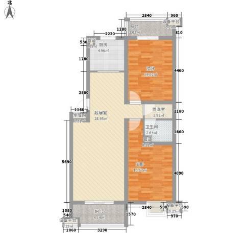 丽景天下2室0厅1卫1厨108.00㎡户型图