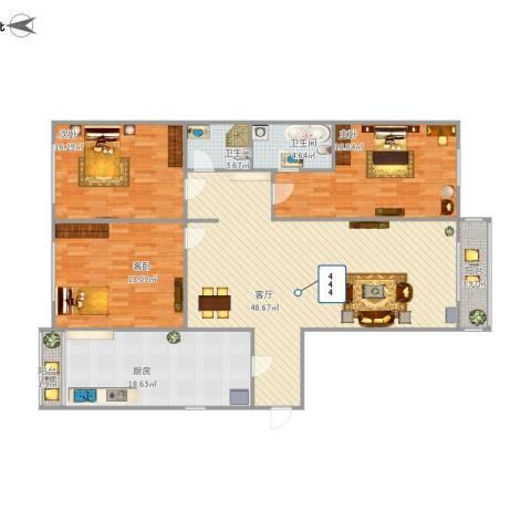 东润枫景3室1厅2卫1厨179.00㎡户型图