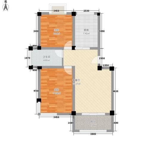 金和家园2室1厅1卫1厨94.00㎡户型图