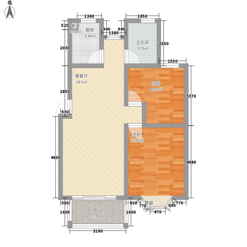 恒美嘉园85.00㎡二期高层D2F户型3室2厅1卫1厨