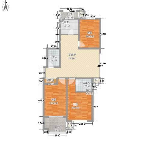 枫丹白露3室1厅2卫1厨131.00㎡户型图