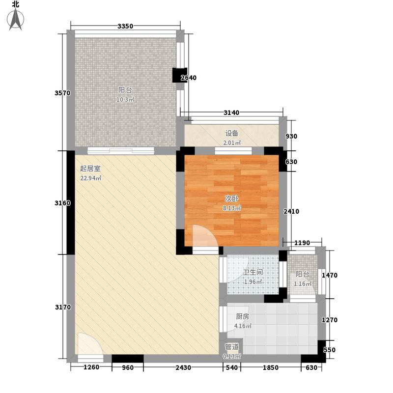 黑山109854.75㎡一期6/7栋1层B2户型1室1厅1卫1厨