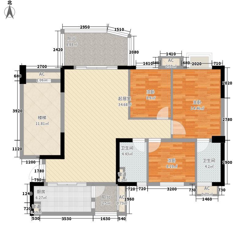 碧桂园・天麓湖113.00㎡j363-03户型3室2厅2卫1厨