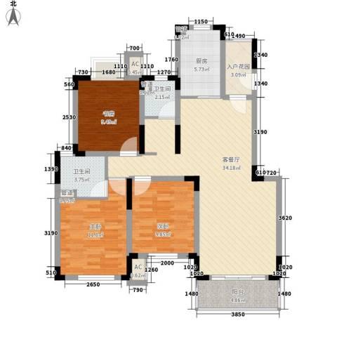 凯运天地3室1厅2卫1厨125.00㎡户型图