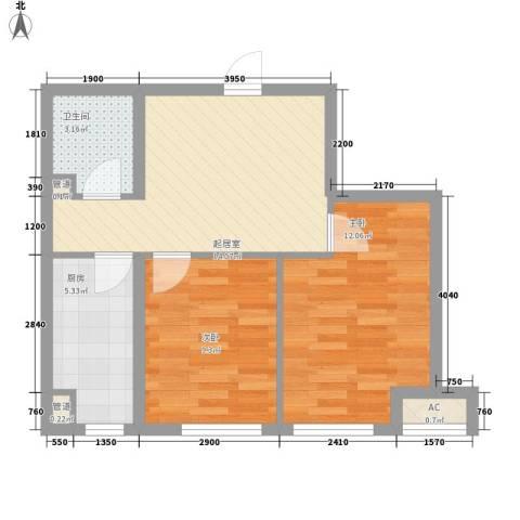 府兴雅园2室0厅1卫1厨65.00㎡户型图