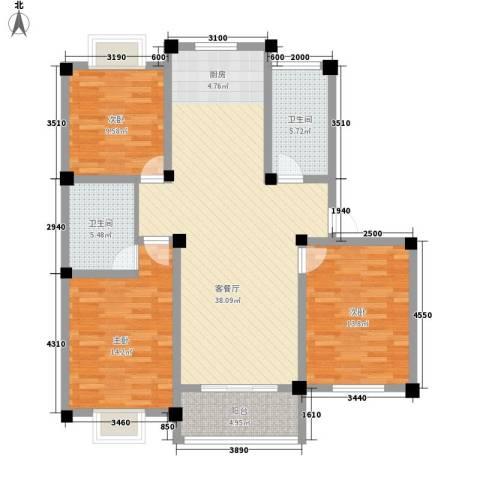 金和家园3室1厅2卫0厨133.00㎡户型图