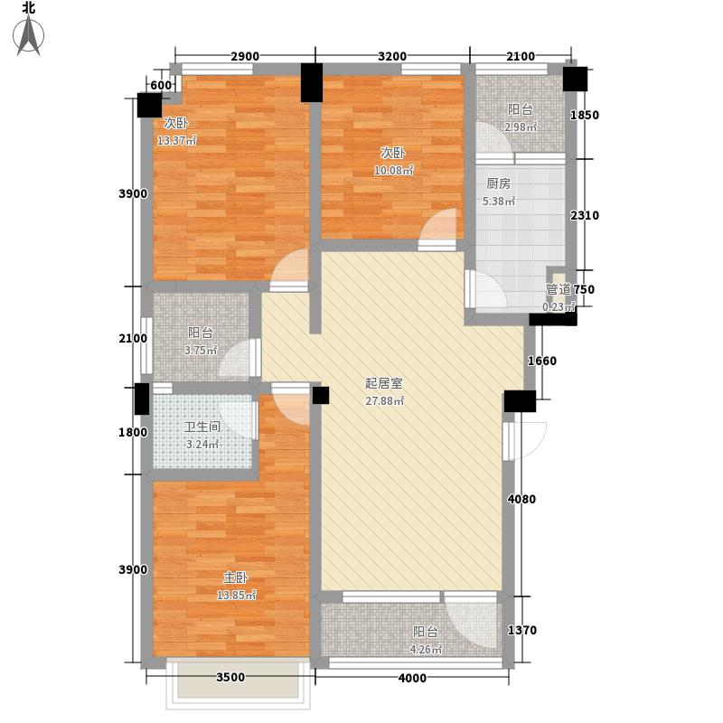 在水一方二期86.00㎡C户型3室2厅2卫1厨