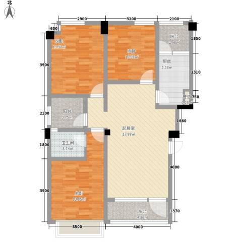 在水一方二期3室0厅1卫1厨86.00㎡户型图