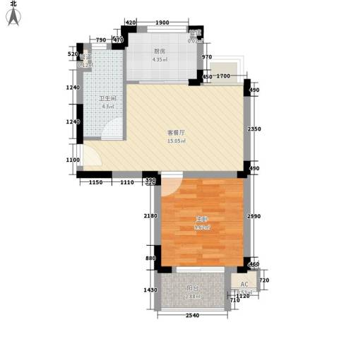 凯运天地1室1厅1卫1厨56.00㎡户型图