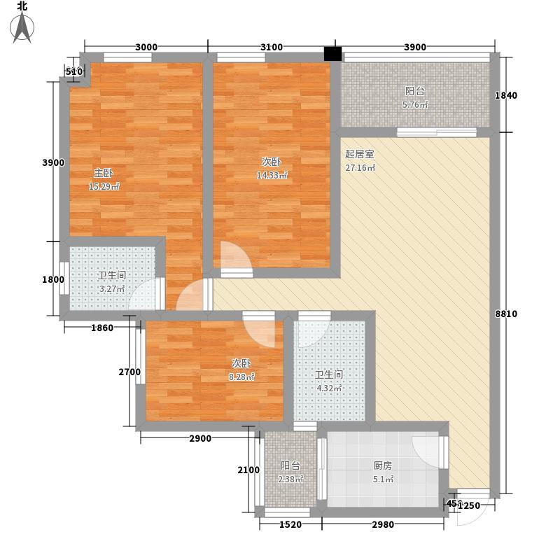 在水一方二期81.80㎡D1户型3室2厅2卫1厨