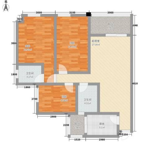 在水一方二期3室0厅2卫1厨86.02㎡户型图