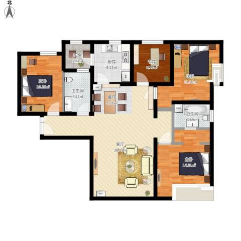 富力新城4室1厅2卫1厨138.00㎡户型图