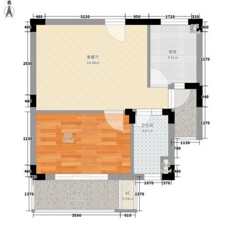 凯运天地1室1厅1卫1厨57.00㎡户型图
