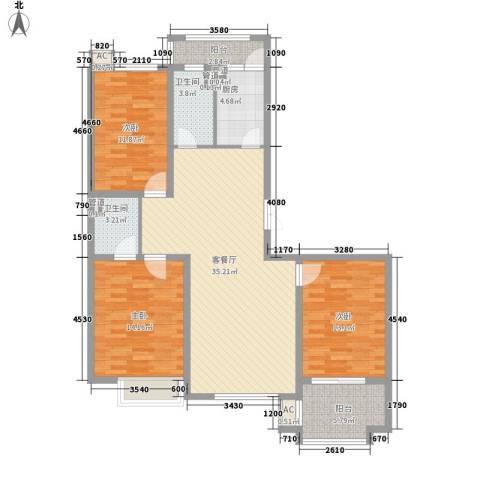 枫丹白露3室1厅2卫1厨139.00㎡户型图