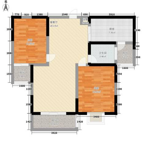 金和家园2室1厅1卫1厨105.00㎡户型图