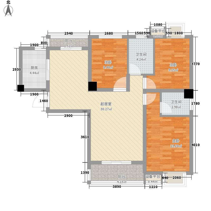 金港一品E户型 3室2厅2卫1厨 116.27㎡