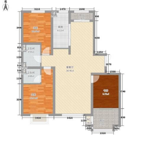 枫丹白露3室1厅2卫1厨133.00㎡户型图
