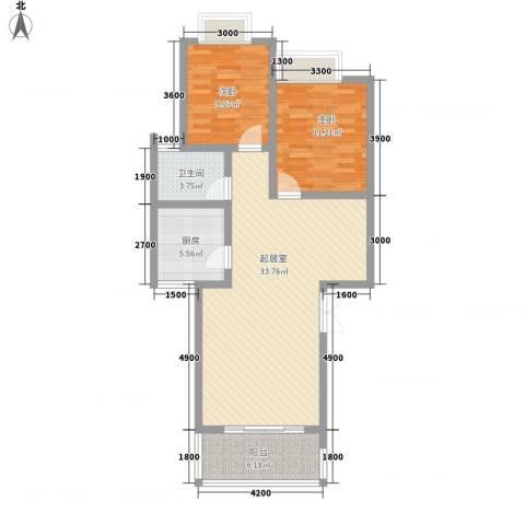 卢湾城市花园2室0厅1卫1厨80.11㎡户型图