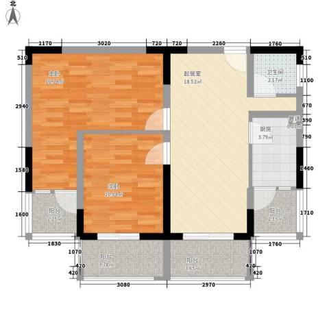 澜湖岸边2室0厅1卫1厨73.00㎡户型图